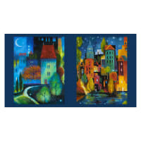 "Clothworks City Dreams 24"" Panel Block Print Light Navy"