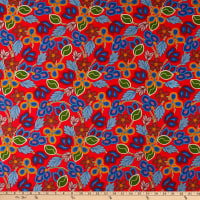 David Textiles Beaded Flowers Red/Multi