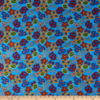 David Textiles Beaded Flowers Turquoise/Multi