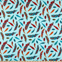 David Textiles Whimsy Feathers Turquoise/Multi