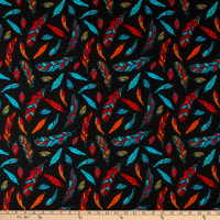 David Textiles Whimsy Feathers Black/Multi