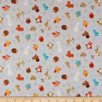 Andover/Makower UK Forest Animal Scatter Grey