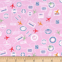 Michael Miller Travel Daze Mapped Out Pink