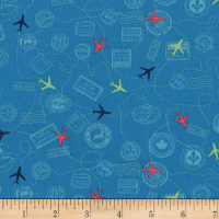 Michael Miller Travel Daze Mapped Out Teal