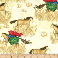 Michael Miller Horse and Rider Metallic Country Path Wheat