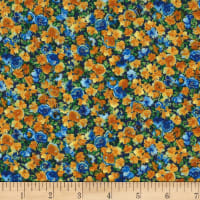 Michael Miller Horse and Rider Metallic Floral Rush Blueberry