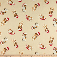 ArtCo Prints Christmas Hat Dog Natural