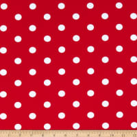 Fabric Merchants Cotton Spandex Jersey Knit Polka Dot Red/Ivory