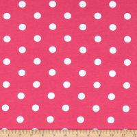 Fabric Merchants Cotton Spandex Stretch Jersey Knit Polka Dot Pink/Ivory