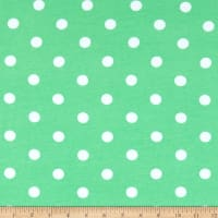 Fabric Merchants Cotton Spandex Stretch Jersey Knit Polka Dot Mint/Ivory