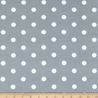 Fabric Merchants Cotton Spandex Jersey Knit Polka Dot Gray/Ivory