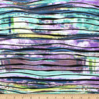 Telio Cascade Poly Spandex Stretch Knit Digital Abstract Print Teal Purple