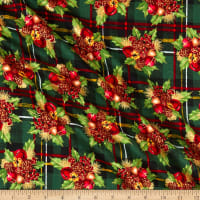 Fabric Traditions Holiday Pointsetta Plaid with Metallic Multi