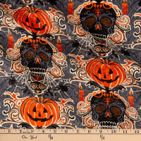 Fabric Traditions Halloween Skeleton and Pumpkin With Glitter