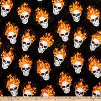 Fabric Traditions Halloween Flaming Skulls Multi