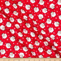 Fabric Traditions Holiday Jolly Santa With Glitter Red