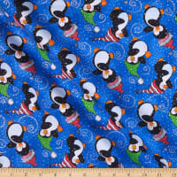 Fabric Traditions Holiday Tossed Penguins With Glitter Multi