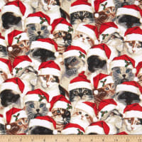 Fabric Traditions Holiday Realistic Cats in Hats Cotton Multi