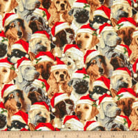 Fabric Traditions Holiday Realistic Dogs in Hats Cotton Multi
