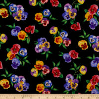Timeless Treasures Digital Wild Meadow Pansy Bunches Multi
