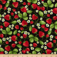 Timeless Treasures Strawberry Patch Strawberry Vines Black