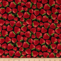 Timeless Treasures Strawberry Patch Tossed Strawberries Black