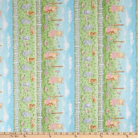 Timeless Treasures Friendship Blossoms Bunny Meadow Border Stripe Multi