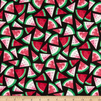 Timeless Treasures Watermelon Party Watermelon Slices Black