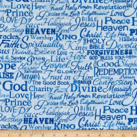 Timeless Treasures Serenity Religious Phrases Blue