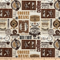 Timeless Treasures Fresh Brew Coffee Labels Taupe