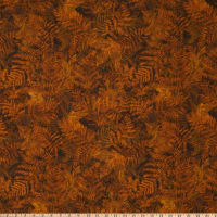 Timeless Treasures Flannel Forest Ferns & Leaves Brown