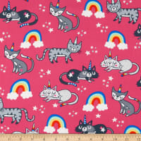 Timeless Treasures Unicorn Cats Pink