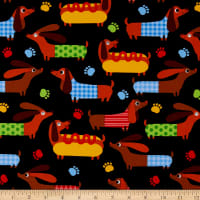 Timeless Treasures Hot Dog Weiner Dogs Black