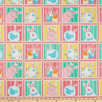 Henry Glass Down On The Bunny Farm Animal Squares Pink