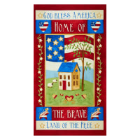 "Henry Glass Land Of The Free 24"" Patriotic Panel Red"