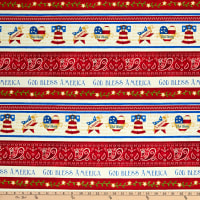 Henry Glass Land Of The Free Border Stripe Red