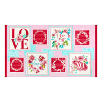 """Henry Glass Love Letters Valentine Blocks 24"""" Panel Pink/Red"""