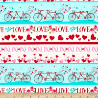 Henry Glass Love Letters Border Stripe Red/Aqua