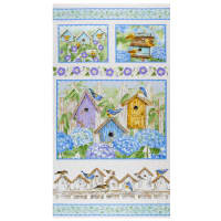 "Henry Glass Hydrangea Birdsong Birdhouse 24"" Panel Blue"
