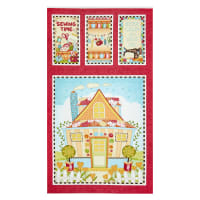 "Henry Glass Sew Let's Stitch Quilted House 24"" Banner Panel Red"