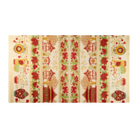 The Textile Pantry Summer Palace Metallic Scenic Border Print Ivory/Red