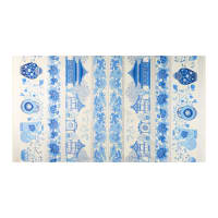 The Textile Pantry Summer Palace Metallic Scenic Border Print Ivory/Blue