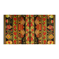 The Textile Pantry Summer Palace Metallic Scenic Border Print Black/Red