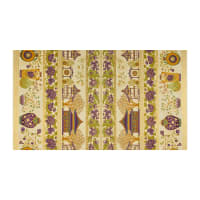 The Textile Pantry Summer Palace Metallic Scenic Border Print Cream/Plum