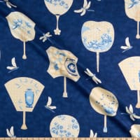 The Textile Pantry Summer Palace Metallic Fans Ivory/Blue