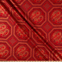 The Textile Pantry Summer Palace Metallic Dragons Red