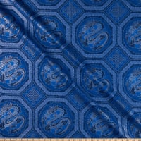 The Textile Pantry Summer Palace Metallic Dragons Blue