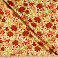 The Textile Pantry Summer Palace Metallic Floral Ivory/Red