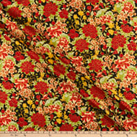 The Textile Pantry Summer Palace Metallic Floral Black/Red