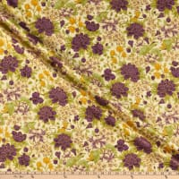 The Textile Pantry Summer Palace Metallic Floral Cream/Plum
